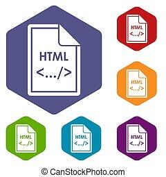 html, set, bestand, iconen