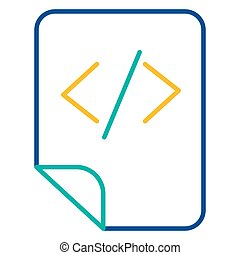 HTML tags storage blue and yellow linear icon