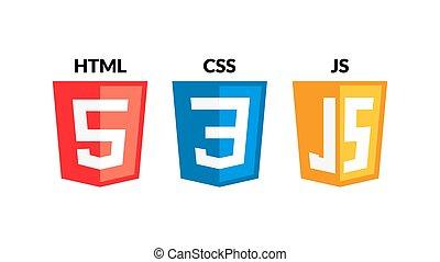 HTML5 CSS3 JS icon set. Web development logo icon set of ...