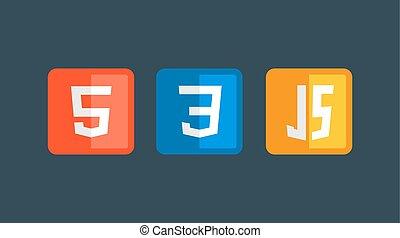 HTML5 CSS3 JS icon set. Web development logo icon set of...