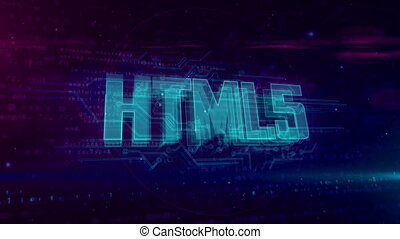 HTML5 glowing hologram intro on dynamic digital background. Modern and futuristic 3D concept of coding, software and programming in loopable and seamless 4K animation.