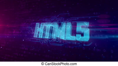 HTML5 glowing hologram intro on dynamic digital background. Modern and futuristic 3D concept of coding, software and programming.