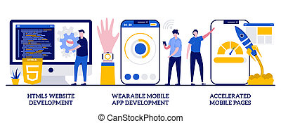 HTML5 website development, wearable mobile app, accelerated mobile pages concept with tiny people. Software and frontend development vector illustration set. Responsive landing design metaphor.