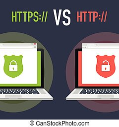 http and https protocols on shield on laptop, on white background. Vector illustration