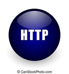 Http blue glossy ball web icon on white background. Round 3d render button.