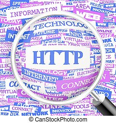HTTP. Concept illustration. Graphic tag collection. Wordcloud collage.