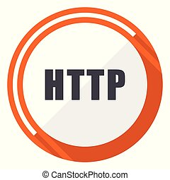 Http flat design vector web icon. Round orange internet button isolated on white background.