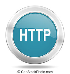 http icon, blue round glossy metallic button, web and mobile app design illustration