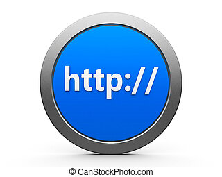 Http icon - Blue http emblem isolated on white background,...