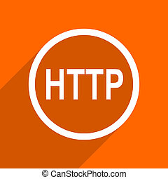 http icon. Orange flat button. Web and mobile app design illustration