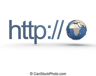 http text and Earth globe, internet domain address concept -...