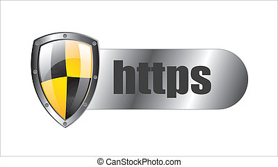 https security over white background vector illustration