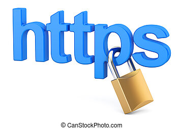 https with padlock, Safe and Secure Networking concept. 3D...