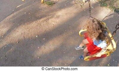 huśta się, jazda, powolny, motion., dzieci