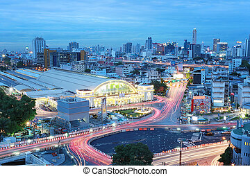 hua, bangkok , θέση , thailand., lamphong, σιδηρόδρομος , αμυδρός