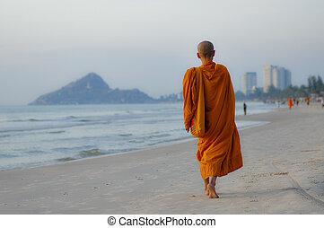 hua, tailandés, hin, playa, tailandia, monje