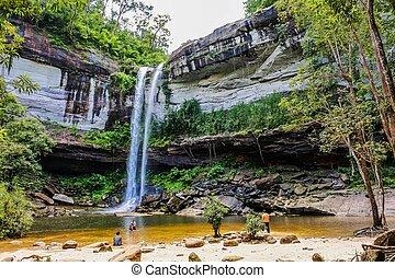 Huai Luang Waterfall  or Bak Teo Waterfall in Phu Chong Na ...