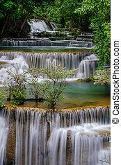 Huai Mae Kamin Waterfall in Kanchanaburi, Thailand