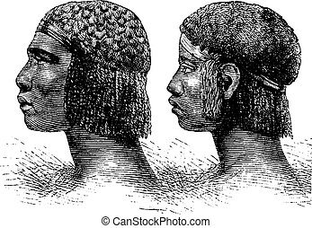 Huambo Man and Woman of Angola in Southern Africa, vintage engraving