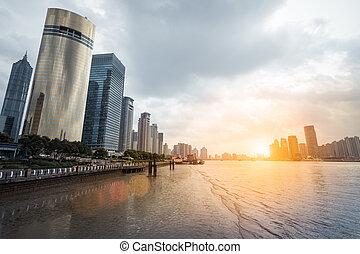 huangpu, shanghai, río, anochecer