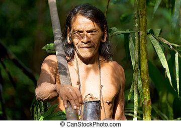 Typical Huaorani Hunter Portrait Waorani Reserve Yasuni National Park Ecuador Shoot In The Jungle In Ambient Light