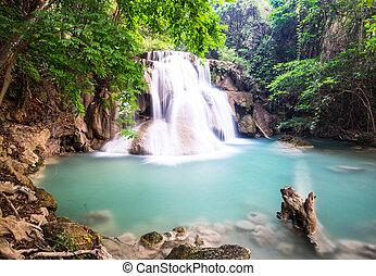 Huay Mae Kamin Waterfall at Kanchanaburi, Thailand