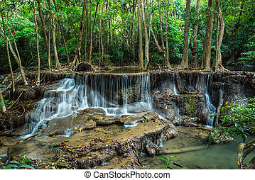Huay Mae Kamin Waterfall at Tropical forest, Kanchanaburi, Thailand