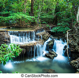 Huay Mae Kamin Waterfall in Tropical green forest, Kanchanaburi, Thailand