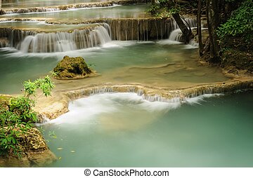 Huay Mae Khamin waterfall in National Park,Thailand.