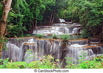 Huay Mae Khamin Waterfall, Paradise waterfall in Tropical rain forest of Thailand, closeup