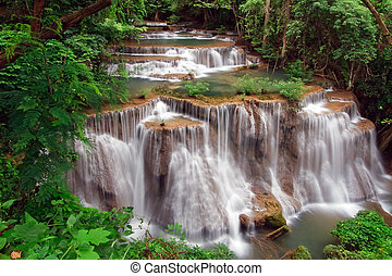 Huay Mae Khamin Waterfall, Paradise waterfall in Tropical rain forest of Thailand