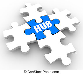 Hub Central Connection Middle Network Location Focus Puzzle...