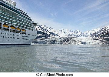 Ship on the proximity of Hubbard glacier in Alaska