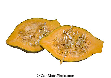 hubbard squash halves isolated over whight with a clipping...