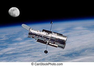 hubble, luna, telescopio, espacio