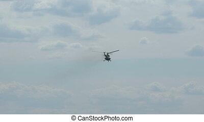 hubschrauber, fliegendes, in, der, sky.