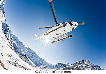 hubschrauber, heli, ski fahrend
