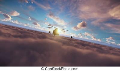 Hubschrauber, Kreuzen, bildung, Oben, Militaer,...