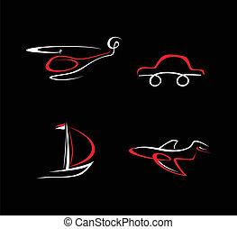 hubschrauber, motorflugzeug, auto, boot