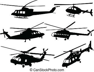 hubschrauber, silhouette, sammlung