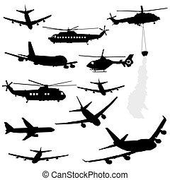 hubschrauber, und, motorflugzeug, silhouetten