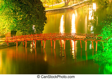 The famous red bridge in Hanoi, Vietnam