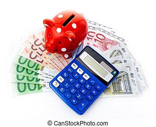 hucha, con, euro, dinero, y, calculadora