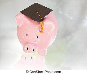 hucha, con, tapa graduación, (, educación, costes, )