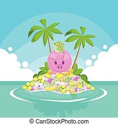 hucha, lleno, de, dinero, isla tropical, palmera,...