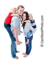 huckepack, fröhlich, reiten, familie, genießen
