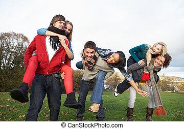 huckepack, jugendlich, clique, herbst, reitet, haben, ...