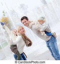 huckepack, lächeln, familie