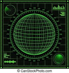 hud., écran, radar, interface utilisateur, futuriste