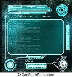 hud, écran, v, tableau bord, interface., devices., futuriste, stockage